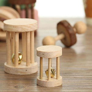 Cute Natural Wooden Rabbits Toys Pine Dumbells Unicycle Bell Roller Chew Toys for Guinea Pigs Rat Small Pet Molars Supplies-Wooden Toy-thegsnd-thegsnd