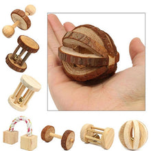 Load image into Gallery viewer, Cute Natural Wooden Rabbits Toys Pine Dumbells Unicycle Bell Roller Chew Toys for Guinea Pigs Rat Small Pet Molars Supplies-Wooden Toy-thegsnd-thegsnd