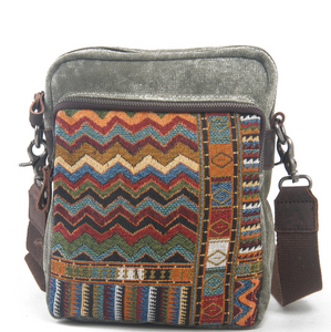 Vintage Style Ethnic Embroidery Canvas Shoulder Hippie Bag for Unisex - thegsnd