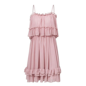 Elegant ruffle off shoulder women dress Spaghetti strap chiffon summer dresses Casual holiday female pink short sundress - thegsnd