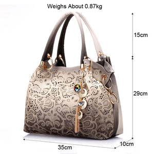 women bag hollow out ombre handbag floral print shoulder bags ladies pu leather tote bag red/gray/blue - thegsnd