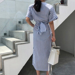 Summer Dress Korean Style Women Fashion Striped Dress Waist Tie Front Slit Chic Midi Dress Short Sleeve Ladies Casual Dresses - thegsnd