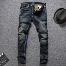 Load image into Gallery viewer, Men Jeans High Quality Slim Fit Classical Jeans Cotton Denim Long Pants Brand Printed Jeans Men Size 29-38 - thegsnd
