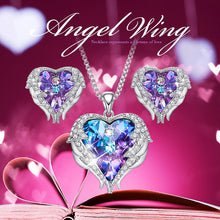 Load image into Gallery viewer, Cdyle Crystals from Swarovski Angel Wings Necklaces Earrings Purple Blue Crystal Heart Pendant Jewelry Set For Women Love Gifts-thegsnd