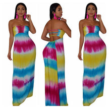 Load image into Gallery viewer, Women Summer Strapless Tie Dye Stripe Print Lace Up Hollow Out Back Maxi Dress Bohemian Elegant Long Beach Dresses Vestidos - thegsnd