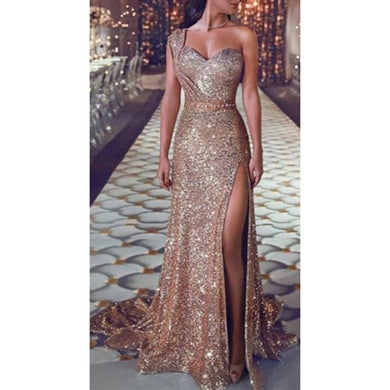 Women Sequin Dress Prom women Sexy Party Gold Sundress Ladies V Neck Dress Abiye Gece Elbisesi-thegsnd