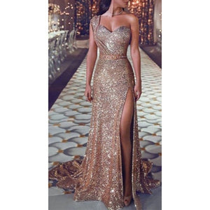 Women Sequin Dress Prom women Sexy Party Gold Sundress Ladies V Neck Dress Abiye Gece Elbisesi - thegsnd