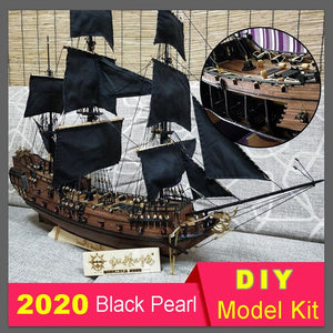 DIY Black Pearl sailing model sets solid wood puzzle hands-on toy Pirates of the Caribbean static ornament children's toys - thegsnd