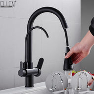 Deck Mounted Black Kitchen Faucets Pull Out Hot Cold Water Filter Tap for Kitchen Three Ways Sink Mixer Kitchen Faucet ELK9139B-Shower Set-thegsnd