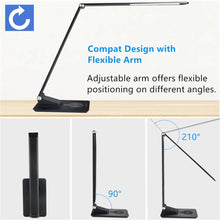 Load image into Gallery viewer, Desk Lamp with Wireless Charger,USB Charging,5 Brightness 3 Color,Adjustable Table Lamp for Office,Bedroom or Dorm,Black,7W - thegsnd