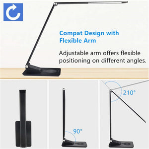 Desk Lamp with Wireless Charger,USB Charging,5 Brightness 3 Color,Adjustable Table Lamp for Office,Bedroom or Dorm,Black,7W - thegsnd