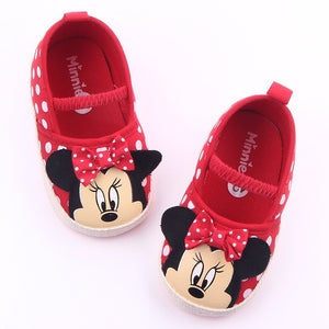Disney Cute Minnie Baby Girl Shoes Newborn Spring Summer Girl Baby Princess Shoes Bowknot Polka Dot Flower Soft-Soled Crib Shoes - thegsnd