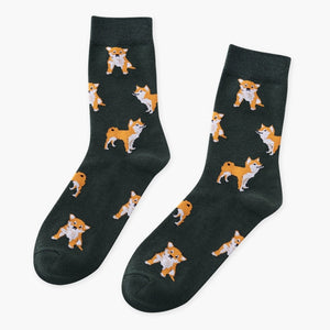 Cute Kawai Cartoon Women Combed Cotton Socks Women Funny Shiba Inu Dog Corgi Lovely Animal Pattern Casual Sock - thegsnd