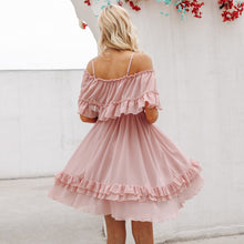 Load image into Gallery viewer, Elegant ruffle off shoulder women dress Spaghetti strap chiffon summer dresses Casual holiday female pink short sundress - thegsnd