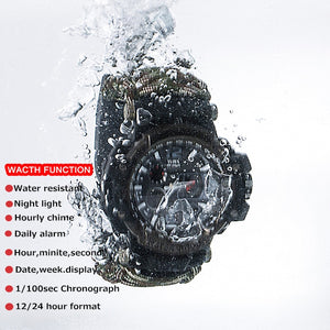 EDC Survival Watch Bracelet Waterproof 50M Watches For Men Women Camping Hiking Military Tactical Gear Outdoor Camping tools - thegsnd