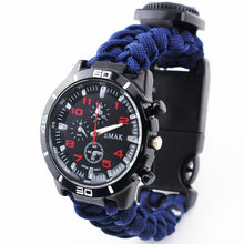 Load image into Gallery viewer, EMAK Survival Watch Outdoor Camping Medical Multi-functional Compass Thermometer Rescue Paracord Bracelet Equipment Tools kit - thegsnd