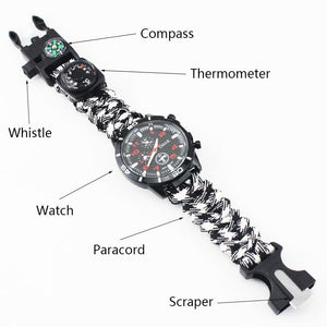 EMAK Survival Watch Outdoor Camping Medical Multi-functional Compass Thermometer Rescue Paracord Bracelet Equipment Tools kit - thegsnd