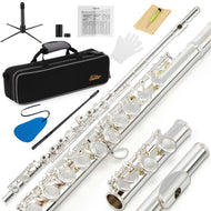Eastar EFL-2 Open/Close Hole C Flutes 16 Keys Silver Plated Flute Set Musical Instrument With Flute Stand Case Cleaning Tool - thegsnd