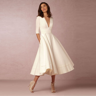 Elegant A-Line V Neck White Maxi Dresses Half Sleeves Simple Sexy Night Club Long Dress Solid Color Female Office Casual Dress - thegsnd