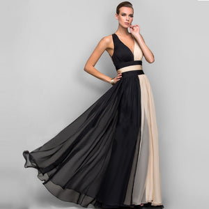 Elegant V-Neck Long Evening Party Dress Women Chiffon Gowns Hollow Out Backless Formal Dresses Ladies Black Maxi Vestidos - thegsnd