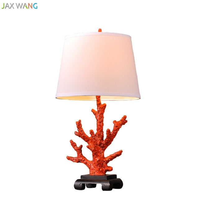 European Modern Creative Resin Coral Table Lamp Fabric Lampshade Lights for Living Room Bedroom Bedside Home Lighting Fixtures - thegsnd