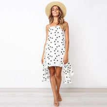 Load image into Gallery viewer, Polka dot print women dress Elegant bohemian summer dress Spaghetti strap holiday ruffled female sundress - thegsnd