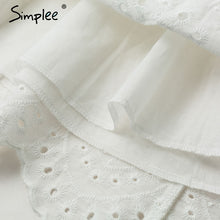 Load image into Gallery viewer, Simplee Sexy white women summer dress Backless v neck ruffle cotton lace dress Vintage holiday beach short female vestidos - thegsnd