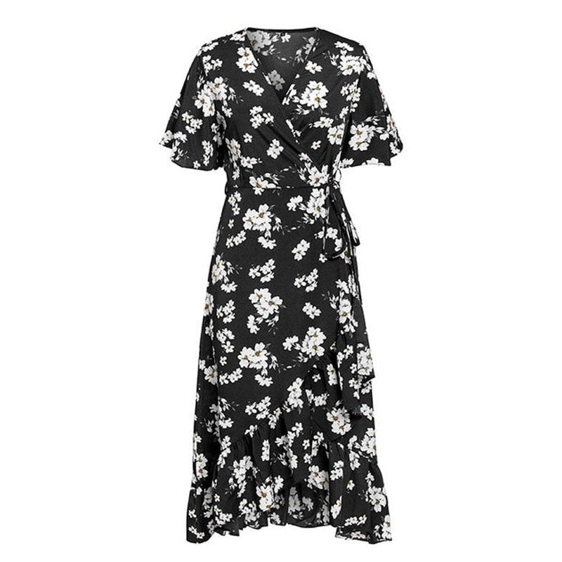 V neck bohemian floral print women sexy dress Elegant sash A line ruffled summer dress Short sleeve holiday dress - thegsnd