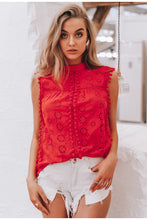 Load image into Gallery viewer, Elegant tank top women blouse Cotton embroidery red shirts feminina sexy top Stand neck tassel pompon ladies tops female - thegsnd