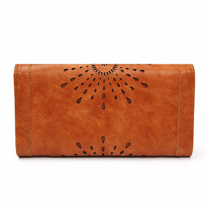 Hollow Out Pattern Retro Wallet Female Purse PU Leather handbag practical Women wallets and purses Vintage Long Wallets - thegsnd