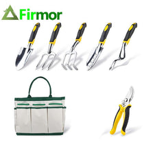 Load image into Gallery viewer, FIRMOR 6 Pcs Garden Tools Set Including Pruning Shears Trowel Cultivator Weeding Fork Weeder and Secateur With Carry Bag - thegsnd