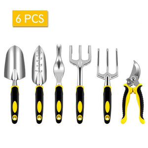 FIRMOR 6 Pcs Garden Tools Set Including Pruning Shears Trowel Cultivator Weeding Fork Weeder and Secateur With Carry Bag - thegsnd