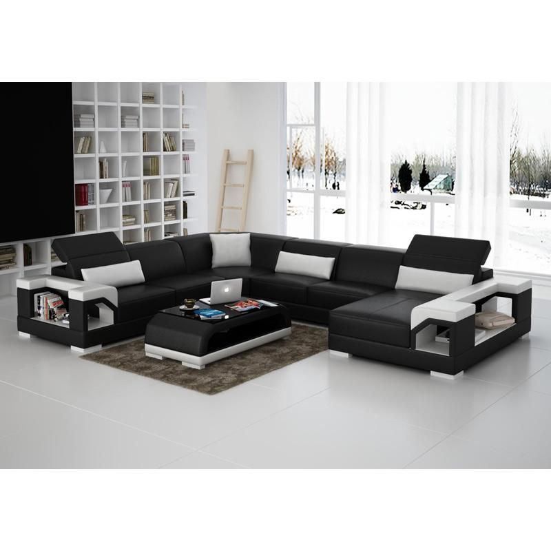 Factory Outlets Living Room Furniture Cheap Leather Corner