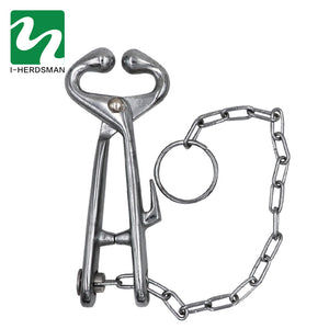 Farm Cattle Livestock Tool Stainless Steel Cow Nose Ring Pliers Bull Cattle Bovine With Chain Pulling Tool - thegsnd