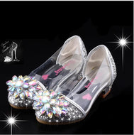 Fashion Cinderella Crystal Bright Diamond Shoes Girl Princess Single Shoes Girl Performance High Heels Shoes - thegsnd
