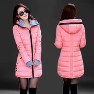 Fashion Hooded Cotton Parka Women 2019 Candy Color  Winter Long Cotton Padded Jacket Warm Slim Outwear Women Plus Size Coat - thegsnd