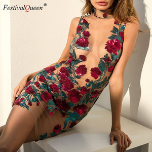 Festival Queen sexy rose embroidery bodycon mini dress stylish sequins flower design mesh hollow out dresses for women 2018 - thegsnd