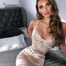 Load image into Gallery viewer, Fuedage Lace Print Spaghetti Strap Sexy Dress Women Hollow Out Transparent Summer Dress Mesh Elegant Casual Mini Party Dresses - thegsnd