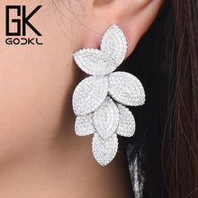 Load image into Gallery viewer, GODKI Celebrity Favorite Luxury Leaf Leaves Flower Collection Full Micro Cubic Zirconia Paved Wedding Bridal Earring For Women-Women Jewelry Collection.-thegsnd