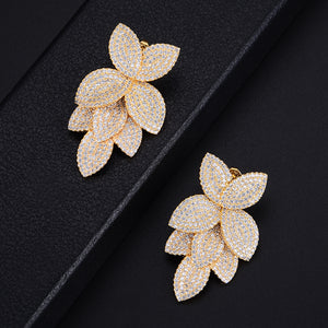 GODKI Celebrity Favorite Luxury Leaf Leaves Flower Collection Full Micro Cubic Zirconia Paved Wedding Bridal Earring For Women-Women Jewelry Collection.-thegsnd