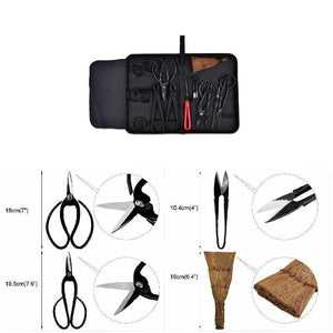 Garden Bonsai Tool Set Carbon Steel Kit Cutter Scissors with Nylon Case  CLH@8 - thegsnd
