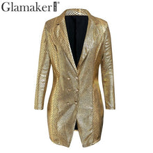 Load image into Gallery viewer, Glamaker Gold snake print sexy v-neck short dress Bodycon elegant buttons mini blazer dress Female 2019 autumn party club dress - thegsnd