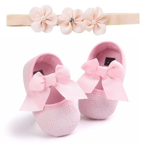 Headband Cotton Soft Sole Flower Shoes Set For Newborn Baby Girl Christening bed Shoes Baptism Fille Cute Ivory First Walkers - thegsnd