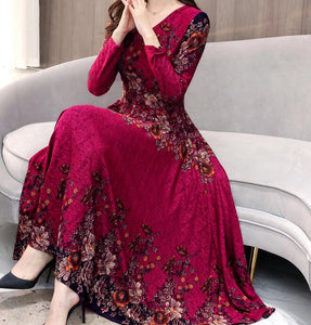 High Quality Hot Sale Plus Size S-3XL 2019 Spring New Arrival  Fashion V Collar Flower  Printed Long Sleeve Woman Long Dress - thegsnd
