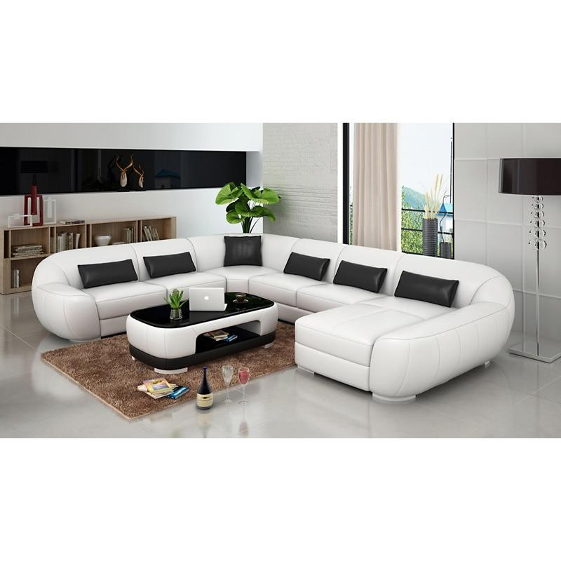 High Quality Black And White Modern Leather Sofa Set 7 Seater