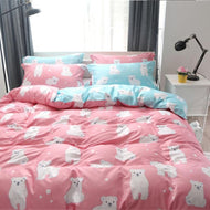 Home Textile Bedding Pet Cotton Fabric Cute Cartoon Bear Bedding Sets, Duvet Cover BedSheet and Pillowcase-Kids Sleeping Kit-thegsnd