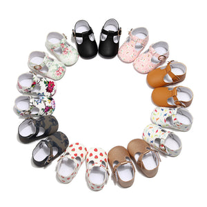 Hot sale Newborn baby moccasins PU Leather baby girl shoes soft sole first walker Princess Ballet Shoes 0-18M mary jane shoe - thegsnd