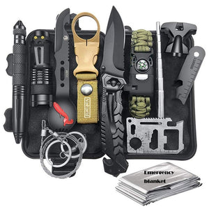 HuntingE mergency Survival Kit Fishing SOS,EDC Survival Gear Outdoor Camping Hiking Kit with knife flashlight Emergency blanket - thegsnd