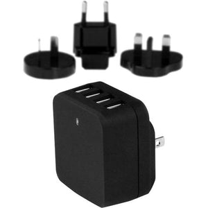 StarTech.com Travel USB Wall Charger - 4 Port - Black - Universal Travel Adapter - International Power Adapter - USB Charger - thegsnd