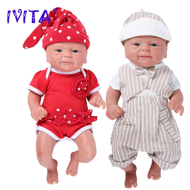 IVITA WG1512 36cm 1.65kg 100% Full Silicone Reborn Doll 3 Colors Eyes Choices Realistic Baby Toys for Children Christmas Gift - thegsnd